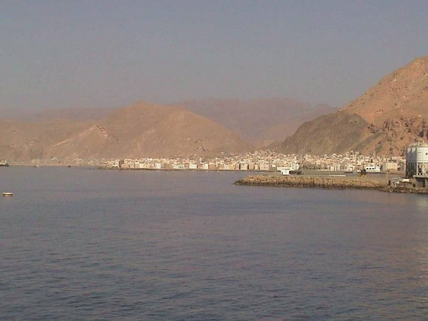 sea port of Al Mukalla, Yemen, as seen from Indian Ocean