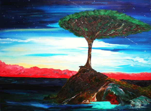 Socotra Dragon Blood Tree: oil on gallery canvas by Chris-Cloud