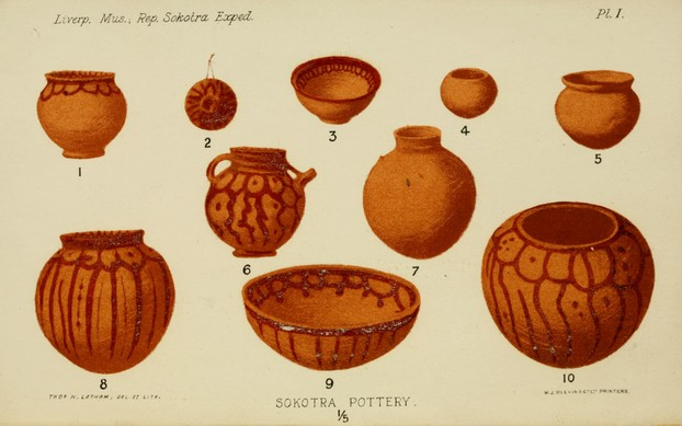 Socora pottery with pigment from dragon's blood tree resin ~ Liverpool Museum