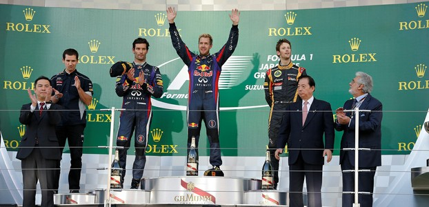 The podium celebrations in Japan