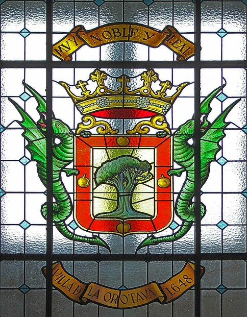 window in City Hall (el Ayuntamiento), La Orotava, northern coast of Tenerife