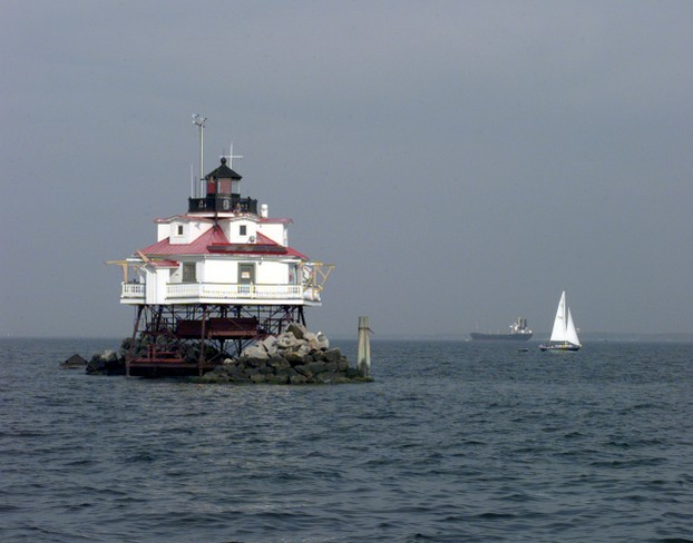 """The Thomas Point Shoal Lighthouse in Chesapeake Bay, Maryland"""