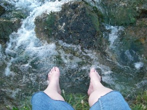 Abby with Her Feet in Mammoth Spring