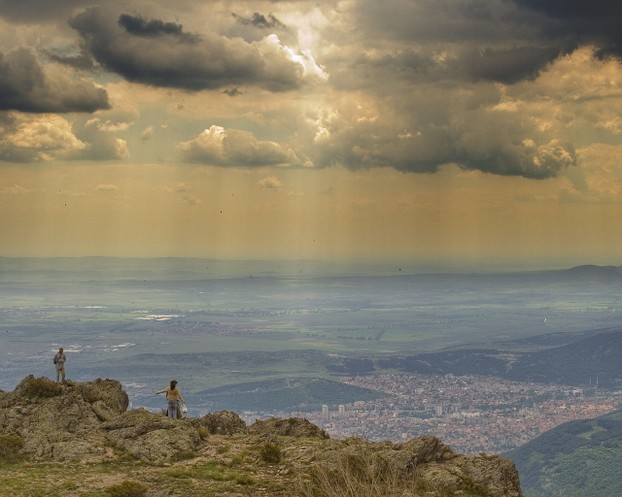 """View of the city of Sliven and the eastern Upper Thracian Plain from southern Balkan Mountains."""