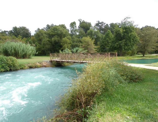 Footbridge Over Mammoth Spring/Spring River in Arkansas