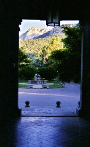 View from the entrance to Lluc Sanctuary, Majorca