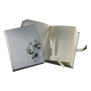 An image of the POST Saffiano Silver Journal with Lock