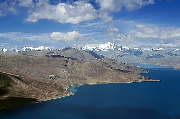 Lake Yamdrok, southeastern Tibet: one of 4 holy lakes guarded by goddess Dorje Gegkyi Tso