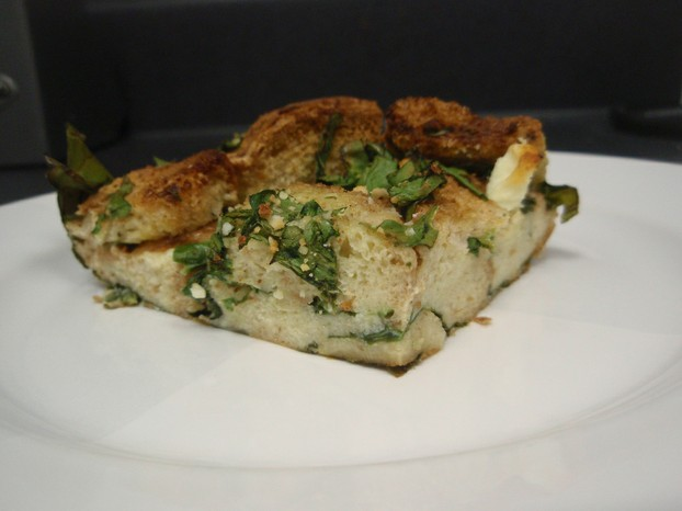 a taste-filled attractive trio: cheese and spinach in a bread pudding