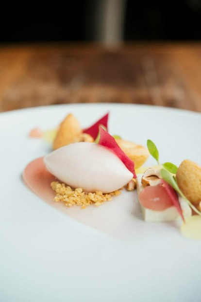 Apple three ways, cranberry, hazelnut, cilantro (by Les 400 Coups pastry chef Bryan Verstraten)