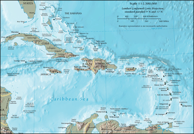 """Map of the Caribbean by the CIA World Factbook"""