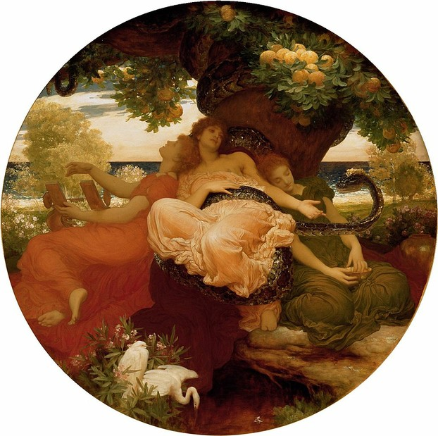 """The Garden of the Hesperides"": c. 1892 oil on canvas by Frederic Leighton (December 3, 1830 – January 25, 1896)"