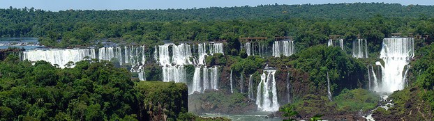 panorama of South America's iconic waterfalls, Iguazu Falls