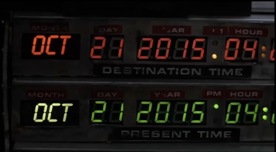 October 21st 2015 at 4.29pm, Marty McFly arrives.