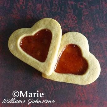 Filled jam jelly heart shaped cookies for Valentine's Day
