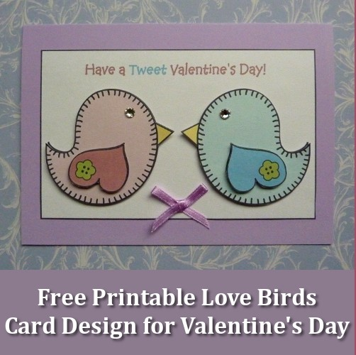 Free printable love birds design for a handmade card this Valentine's Day