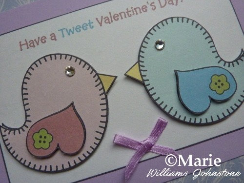 Free printable love birds card for Valentine's Day crafts