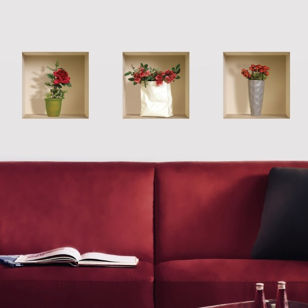 3D effect wall decal - Red roses