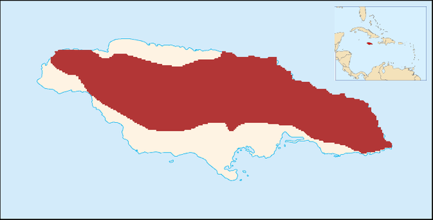 Jamaica and insert of location of Jamaica within Caribbean Sea