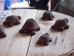 Turtles, whittled from bark, racing to the finish line.