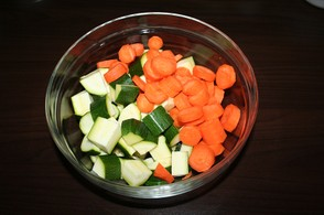 Dice the zucchini and carrots
