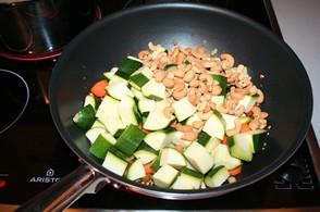 Add diced veggies to wok