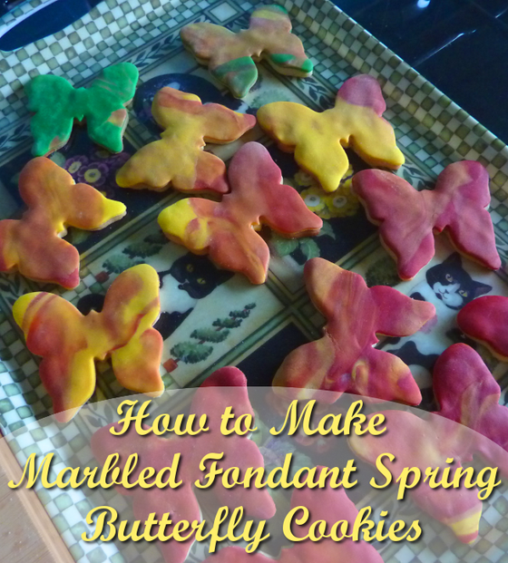 How to make marbled fondant spring butterfly cookies
