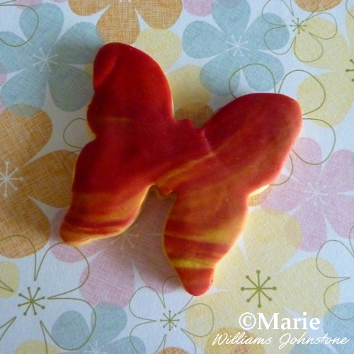 Shaped Butterfly Cookie with Marbled Fondant Icing
