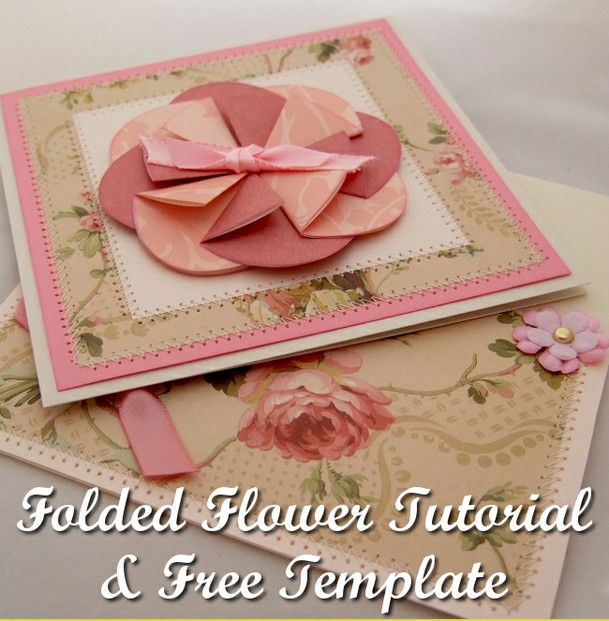 Spring floral folded handmade card tutorial and free template