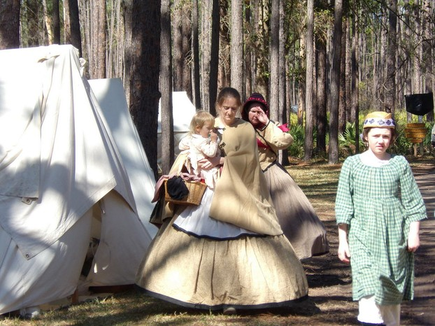 Women and Children Civil War Reenactors in Olustee, Florida