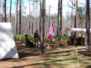 Reeneactors waiting for the Battle of Olustee