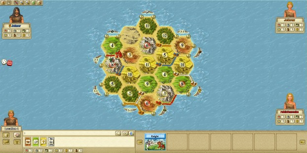 Image: Four players begin a game of Settlers of Catan