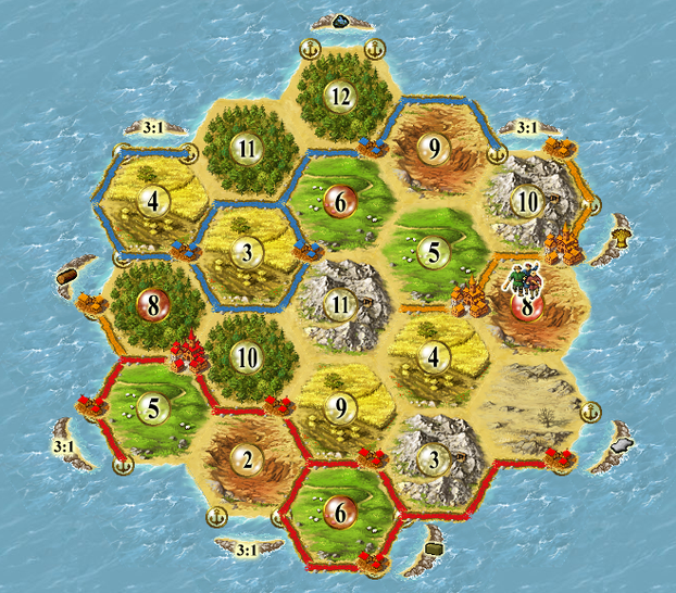 Image: Completed map from Settlers of Catan.