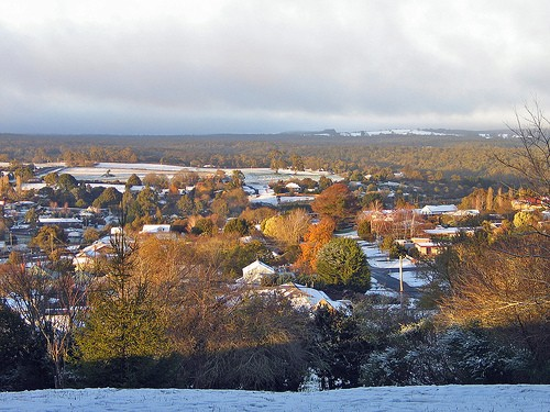 Snow in Daylesford, state of Victoria central highlands, southeastern Australia