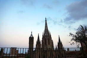 Sunset over Catedral de Barcelona from Hotel Colon terrace
