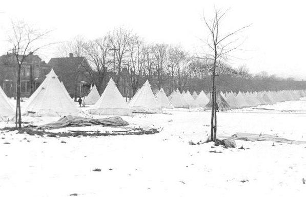 Image: Tents on the Commons - temporary homes for the disaster homeless.