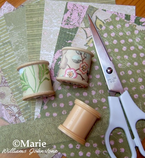 Old Sewing Spools Covered in Pretty Papers