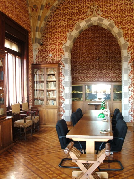 library in Castello d'Albertis, owned by Luigi's cousin, fellow explorer Enrico d'Albertis, Genoa, northwestern Italy