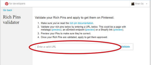 Applying for Rich Pin Validation