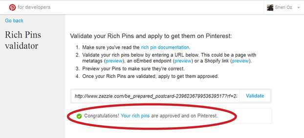 Approval Window for Zazzle Rich Pins