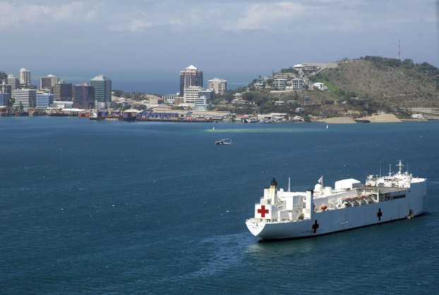 Military Sealift Command hospital ship USNS Mercy off the coast of Papua New Guinea in support of Pacific Partnership.
