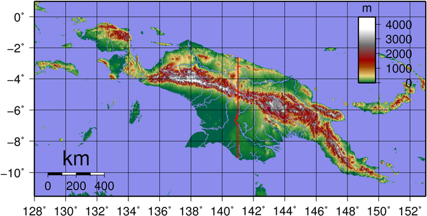 Topographic map of New Guinea. Created with GMT from publicly released GLOBE data.