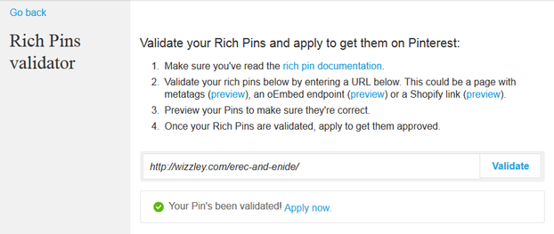 Image: Wizzley website validated for Rich Pins on Pinterest.