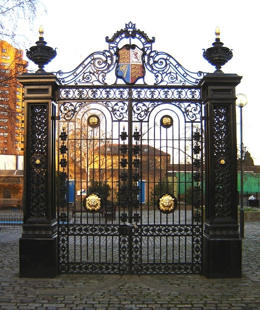 Old gate, Cremorne Gardens, Chelsea: sited in paved over fragment of original gardens