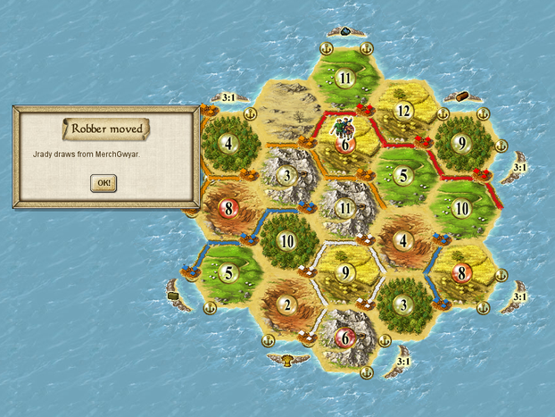 Image: Using robbers in Catan