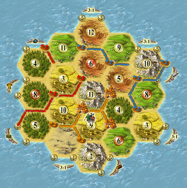 Image: Good selection of numbers in Settlers of Catan