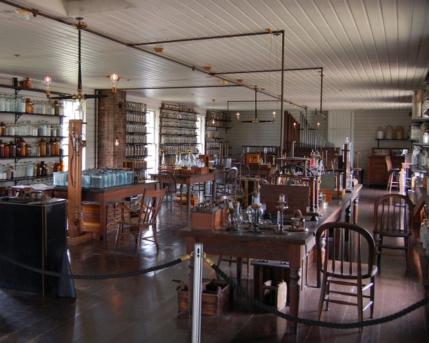 Upstairs at Thomas Edison's Menlo Park Lab (replicas made in 1929 in Greenfield Village). Pipe organ at back wall.