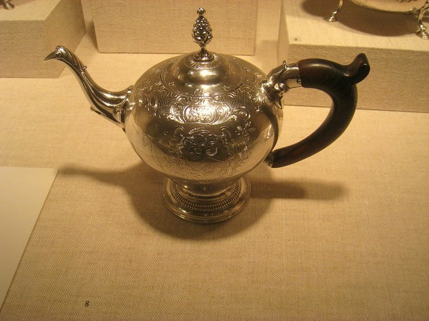 Silver teapot made, 1773, by Paul Revere (December 21, 1734 – May 10, 1818)