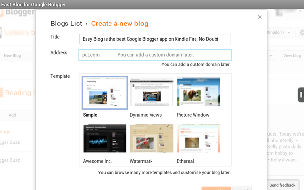 Create a new Google Blogger blog easily