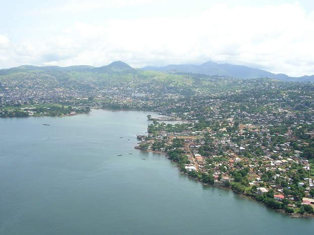 Aerial view of Freetown, western Sierra Leone
